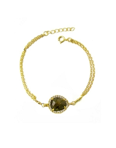 Gemstone with CZ Double Chain Bracelet
