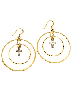 Double Circles with CZ Charm Earrings