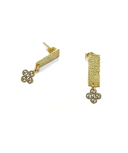 Bar with CZ Charm Stud Earrings