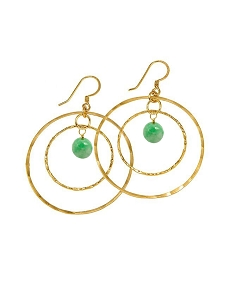 Double Circle with Gemstone Ball Earrings