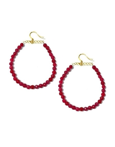 Gemstone Mini Bead Hoop Earrings