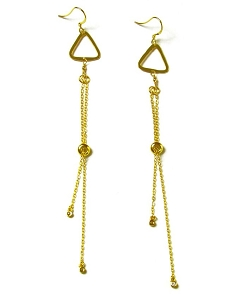 Triangle with Tassel Earrings