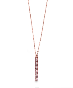 CZ PAVE Vertical Bar Pendant Necklace