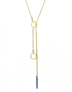 2-Circle Ring Lariat Necklace with Tiny Gem Bead Pendant