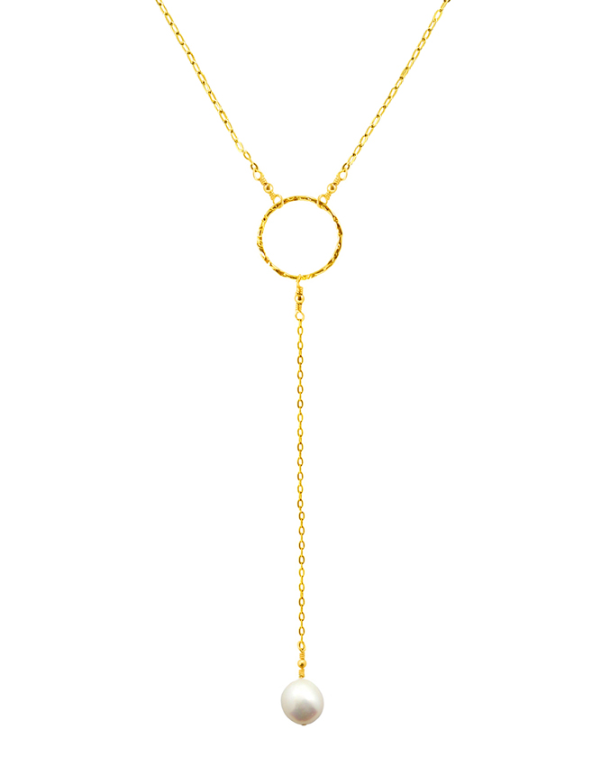 3 4 quot circle y necklace with pearl pendant