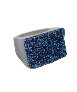 Rectangle Titanium Druzy with Agate Band Ring