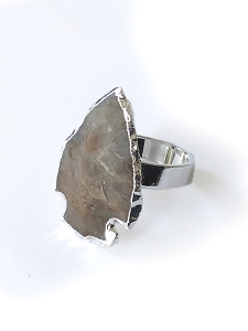 Jasper Arrowhead Sterling Silver Plated Ring
