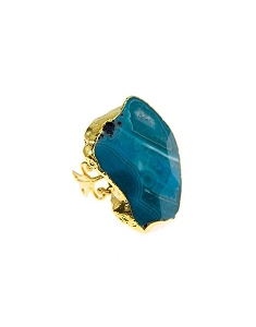 Blue Quartz Gold Ring