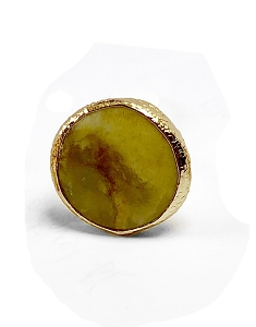 Round Brown Jade Gold Ring