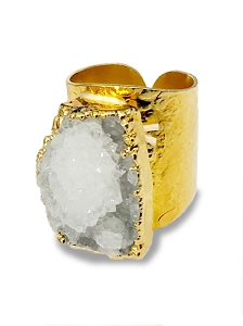 Clear Crystal Gemstone Cigar Ring