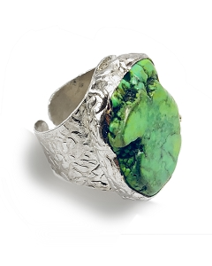 Green Turquoise Cigar Sterling Silver Plated Ring