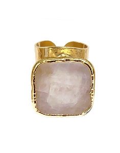 Rose Quartz Cigar Gold Ring