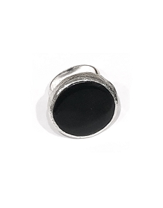 Round Onyx Sterling Silver Ring