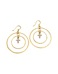 Double Circles with Charm Earrings