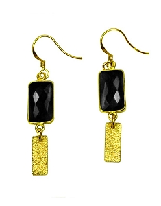 Rectangle Gemstone with Bar Earrings