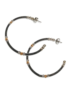 Italian Open Black Hoop with Gold & Silver Bead Earrings