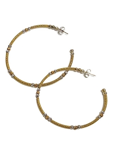 Italian Open Gold Hoop with Gold & Silver Bead Earrings