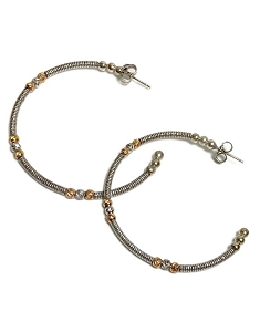 Italian Open Sterling Silver Hoop with Gold & Silver Bead Earrings