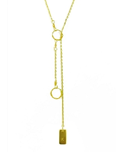Rectangle Initial Lariat Necklace