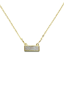 Titanium Druzy Bar Pendant Necklace