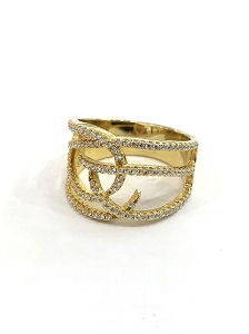 Wide Band Gold Ring with CZ Strips