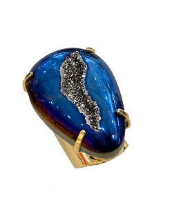 Teardrop Titanium Druzy Cigar Ring