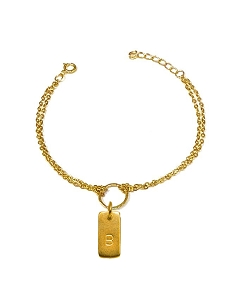 Rectangle Initial Charm Bracelet
