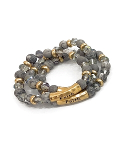 Faith Stamped Natural Gray Gemstone Bead Bracelet