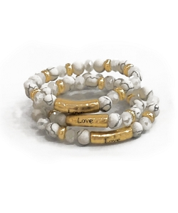 Love Stamped Howlite Gemstone Bead Bracelet