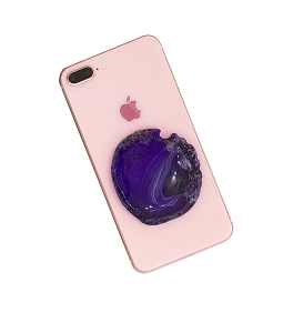 Large Purple Agate Gemstone Cell Phone Socket