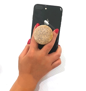 Round Fossil Coral Gemstone Cell Phone Socket