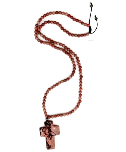 Rhodochrosite Gemstone Necklace with Cross