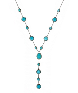 CZ PAVE Multi-Gemstone with Pyrite Beads Y Necklace