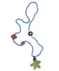 CZ PAVE Sealife Charms and Blue Chalcedony Beads Necklace