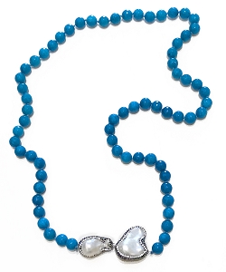 CZ PAVE Pearl Charms with Turquoise Beads Necklace