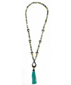 CZ PAVE Pearl Charms with Gemstone Beads Tassel Necklace
