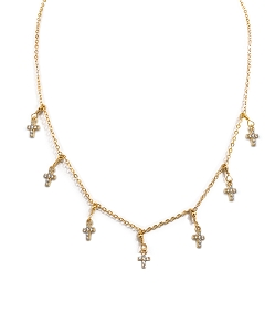 7-Cross-Charm Dangle Necklace