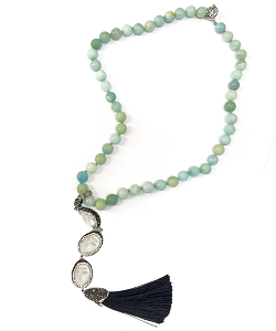 CZ PAVE Baroque Pearl with Jade Bead Tassel Necklace