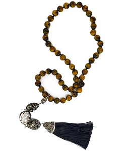CZ PAVE Baroque Pearl with Tiger Eyes Bead Tassel Necklace