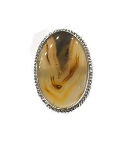 XL Montana Agate All Silver Ring