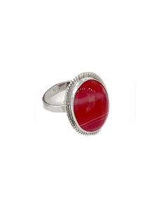 Pink Chalcedony All Sterling Silver Ring
