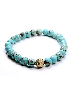 8MM Natural Gemstone Turquoise Beaded Stretch Bracelet