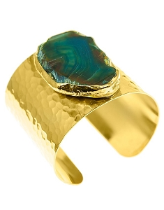 Agate Quartz- Emerald Brown Gold Cuff