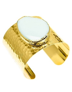 Agate Quartz- White Jade Gold Cuff