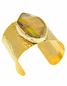 Agate Quartz- Yellow Brown Gold Cuff