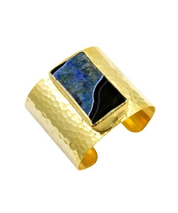 Agate- Black Blue Rectangle Gold Cuff