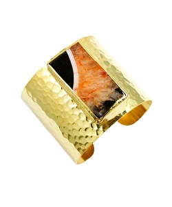 Agate- Black Orange Rectangle Gold Cuff