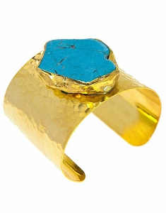 Blue Turquoise Gold Cuff
