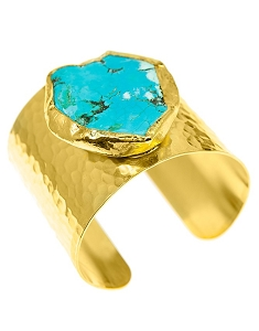 Blue Turquoise with Brown Gold Cuff