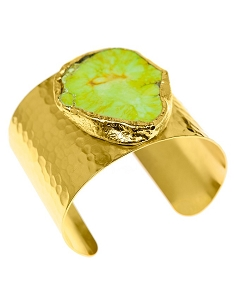 Green Turquoise Gold Cuff